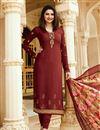 image of Prachi Desai Brown Churidar Salwar Suit In Crepe