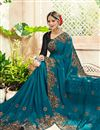 photo of Sky Blue Party Style Embellished Georgette Fancy Saree