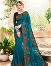 image of Georgette Party Style Sky Blue Fancy Embroidered Saree