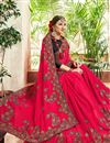 photo of Crimson Color Party Wear Embroidered Georgette Fancy Saree