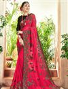 image of Crimson Color Party Wear Embroidered Georgette Fancy Saree