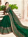 photo of Georgette Party Wear Embroidered Dark Green Fancy Saree