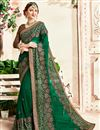 image of Georgette Party Wear Embroidered Dark Green Fancy Saree