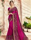image of Rani Color Party Style Georgette Fancy Embroidered Saree