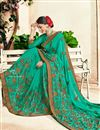 photo of Embroidered Georgette Party Wear Fancy Saree In Cyan
