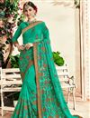 image of Georgette Party Wear Embroidered Cyan Fancy Saree