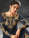 photo of Function Wear Navy Blue Fancy Anarkali Suit In Art Silk