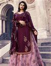image of Prachi Desai Festive Wear Designer Burgundy Color Georgette Embroidered Indo Western Lehenga