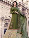 image of Prachi Desai Designer Festive Wear Fancy Green Georgette Indo Western Lehenga