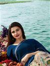 photo of Prachi Desai Georgette Fabric Navy Blue Festive Wear Printed Saree