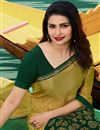 photo of Prachi Desai Mustard Georgette Fabric Printed Designer Saree