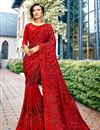 image of Red Color Fancy Wedding Wear Art Silk Saree With Embroidery