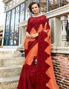 image of Function Wear Art Silk Orange Color Embroidered Designer Saree