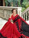 photo of Red Wedding Wear Art Silk Saree With Embroidery Work