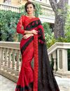 image of Red Wedding Wear Art Silk Saree With Embroidery Work