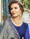 photo of Art Silk Embroidered Wedding Wear Grey Designer Saree