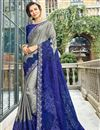 image of Art Silk Embroidered Wedding Wear Grey Designer Saree