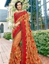 image of Chikoo Color Function Wear Embroidered Art Silk Saree