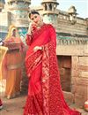 image of Embroidered Red Function Wear Georgette Saree With Lace Border