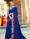 image of Blue Fancy Wedding Wear Art Silk Saree With Lace Border