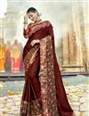 image of Georgette Function Wear Brown Embellished Saree With Lace Border