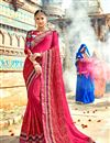 image of Pink Fancy Wedding Wear Chiffon Saree With Lace Border