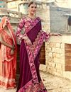 photo of Georgette Wedding Wear Burgundy Color Designer Saree With Lace Work