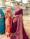 image of Georgette Wedding Wear Burgundy Color Designer Saree With Lace Work