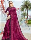 image of Party Style Embroidered Art Silk Fabric Designer Saree In Burgundy Color
