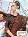 photo of Embroidered Designs On Brown Georgette Fabric Party Wear Saree
