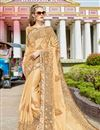 image of Beige Art Silk Fabric Occasion Wear Saree With Embroidery