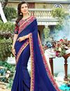 image of Party Wear Georgette Fabric Navy Blue Plain Saree With Fancy Border