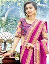 photo of Party Wear Rani Color Georgette Fabric Plain Saree With Lace Border