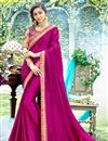 image of Georgette Fabric Party Style Rani Color Plain Saree With Lace Border