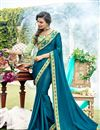 image of Sky Blue Party Wear Georgette Fabric Fancy Plain Saree With Lace Border