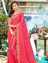 image of Party Wear Crimson Color Georgette Fabric Plain Saree With Lace Border