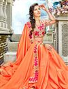 photo of Party Wear Orange Georgette Fabric Plain Saree With Fancy Border