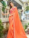 image of Party Wear Orange Georgette Fabric Plain Saree With Fancy Border