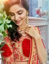 photo of Red Party Style Georgette Fabric Plain Saree With Lace Border