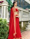 image of Red Party Style Georgette Fabric Plain Saree With Lace Border