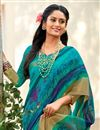 photo of Fancy Cyan Cotton Silk Daily Wear Printed Saree