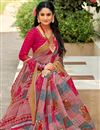 photo of Printed Pink Office Wear Cotton Silk Saree With Blouse