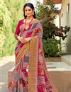 image of Printed Pink Office Wear Cotton Silk Saree With Blouse