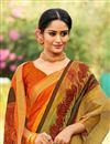 photo of Fancy Orange Cotton Silk Daily Wear Printed Saree