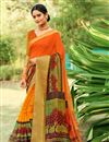 image of Cotton Silk Orange Fancy Printed Saree With Blouse