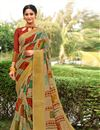 image of Cream Printed Occasion Wear Cotton Silk Saree With Blouse