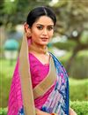 photo of Cotton Silk Dark Pink Fancy Printed Saree With Blouse