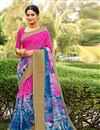 image of Cotton Silk Dark Pink Fancy Printed Saree With Blouse