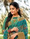 photo of Teal Printed Occasion Wear Cotton Silk Saree With Blouse