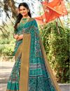 image of Teal Printed Occasion Wear Cotton Silk Saree With Blouse